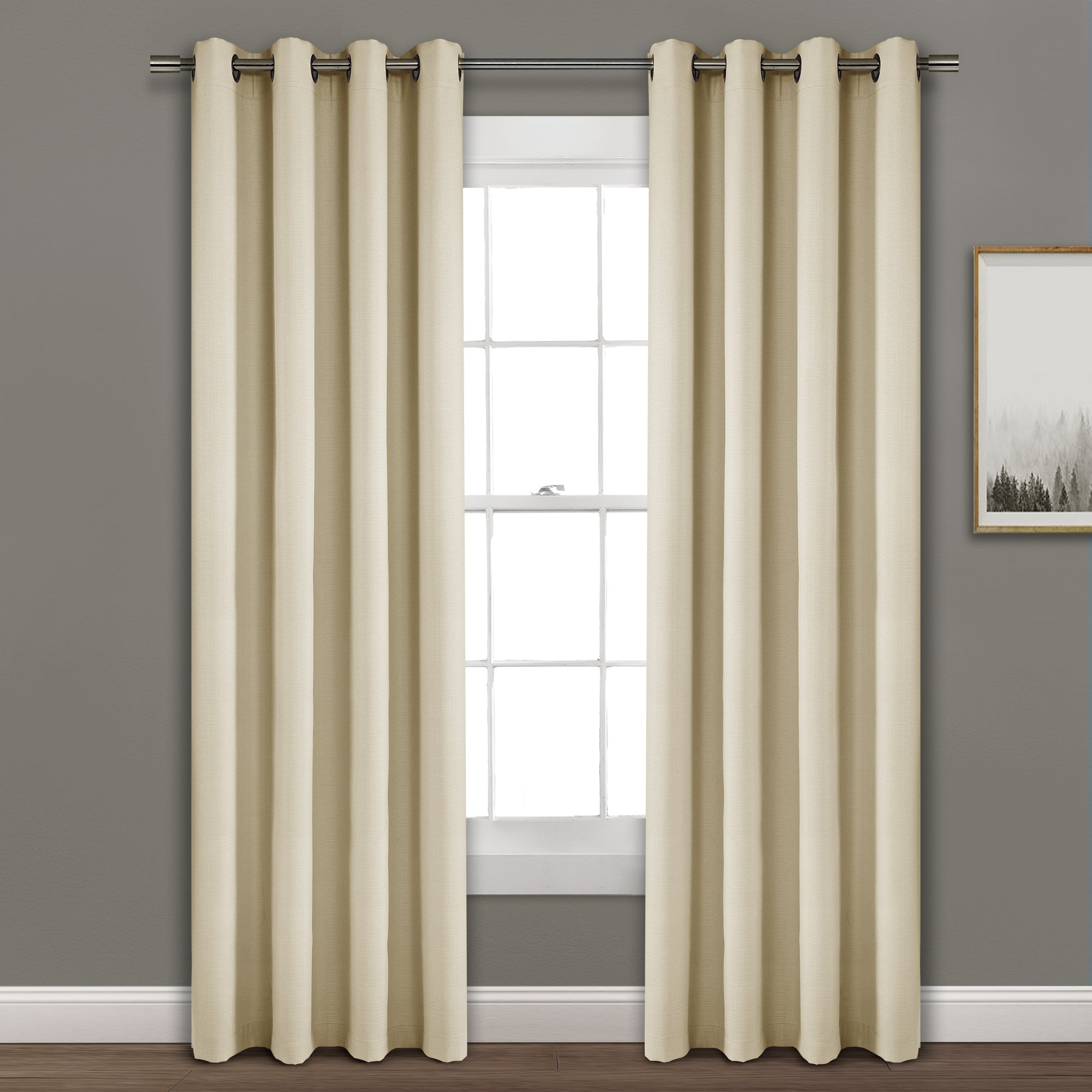 Faux Linen Absolute Blackout Window Curtain Panel