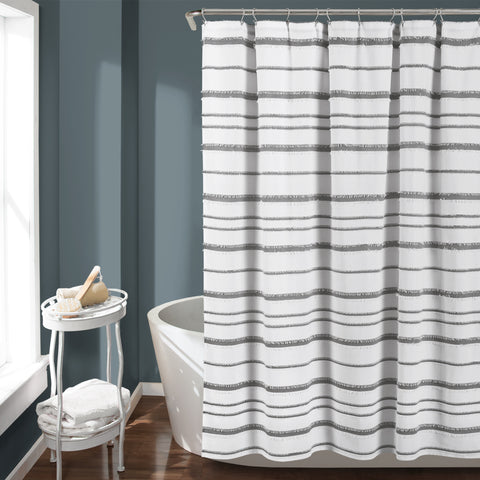Stripe Clip Jacquard Shower Curtain
