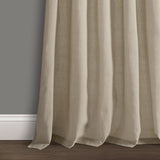 Burlap Knotted Tab Top Window Curtain Panel Set