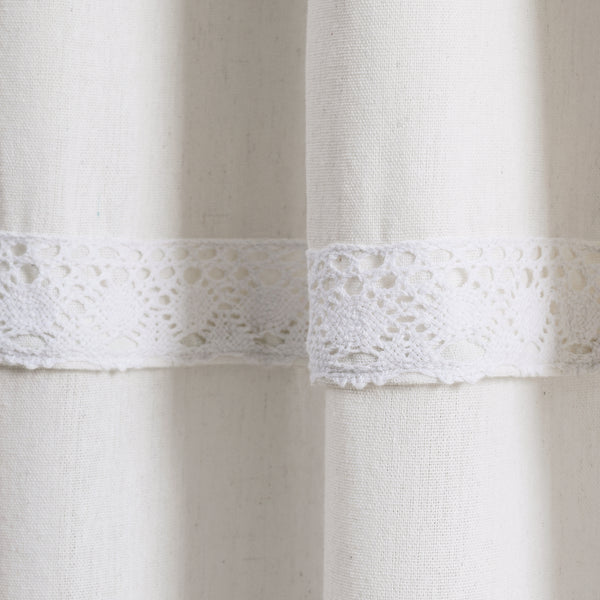 Linen Lace Window Curtain Panel Set