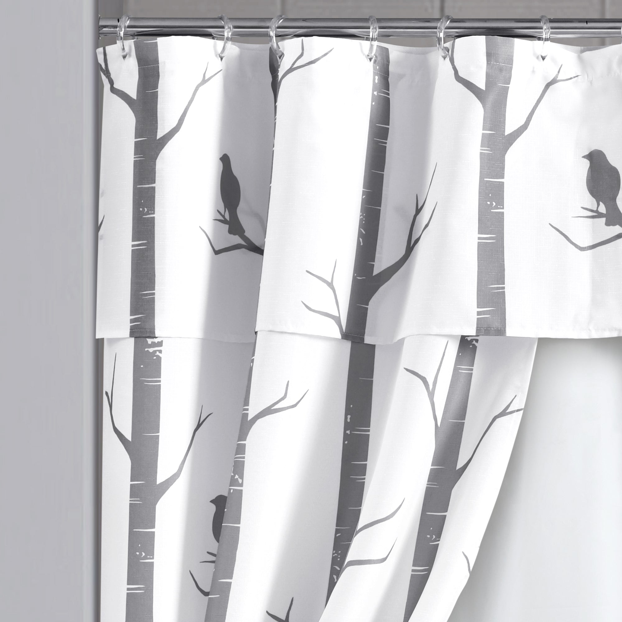 Bird On The Tree Double Swag Shower Curtain 16 Piece Complete Set
