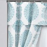 Evelyn Medallion Double Swag Shower Curtain 16 Piece Complete Set