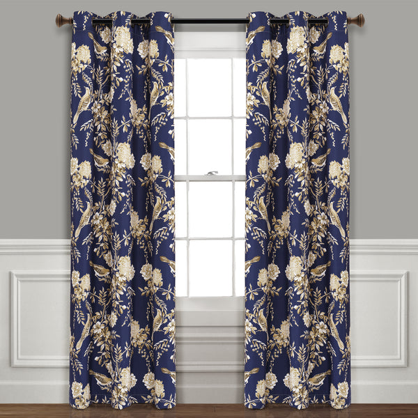 Farmhouse Bird And Flower Insulated Grommet Blackout Window Curtain Panel Set