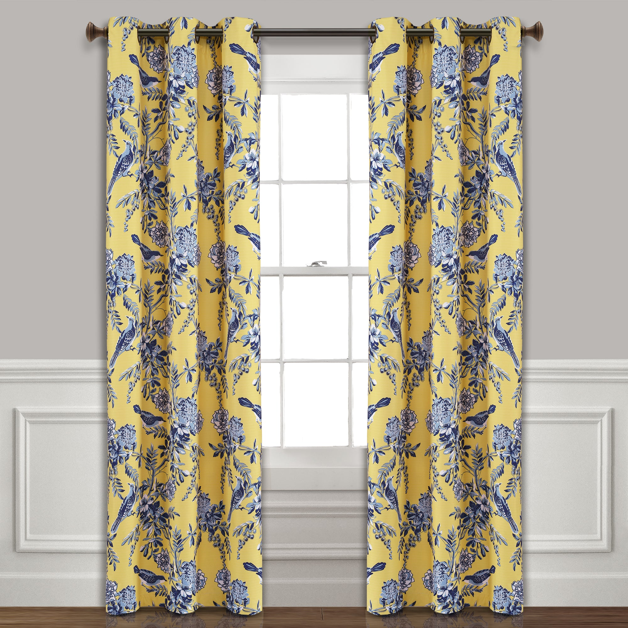 Farmhouse Bird And Flower Insulated Grommet Blackout Window Curtain Panel Set Lush Decor Www Lushdecor Com Lushdecor