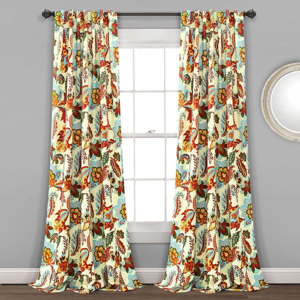 Zara Jacobean Room Darkening Window Curtain Panel Set