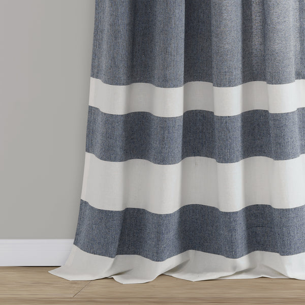 Cape Cod Stripe Yarn Dyed Cotton Window Curtain Panel Set