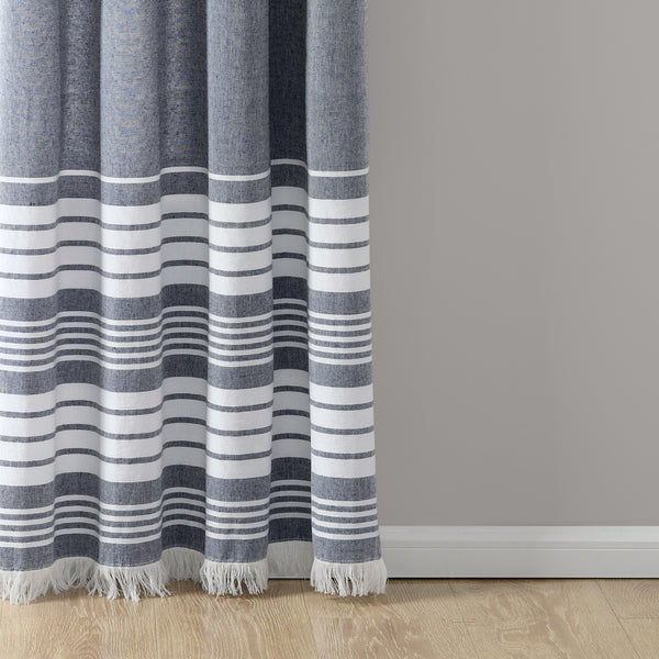 Nantucket Yarn Dyed Cotton Tassel Fringe Window Curtain Panel Set