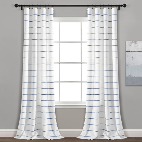 Ombre Stripe Yarn Dyed Cotton Window Curtain Panel Set