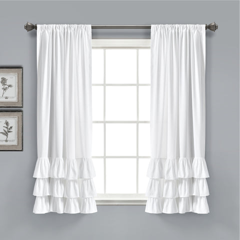 Allison Ruffle Window Curtain Panel Set