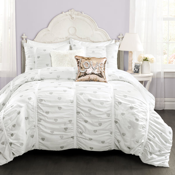 Distressed Metallic Heart Print Comforter Set Back To Campus Dorm Room Bedding