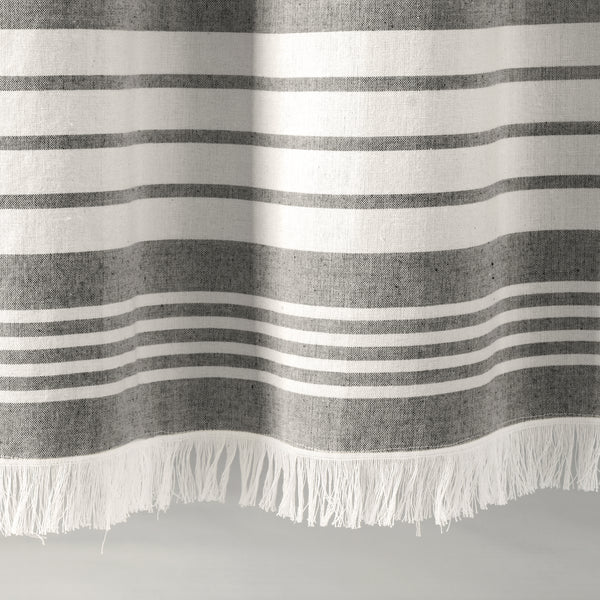 Nantucket Yarn Dyed Cotton Tassel Fringe Shower Curtain