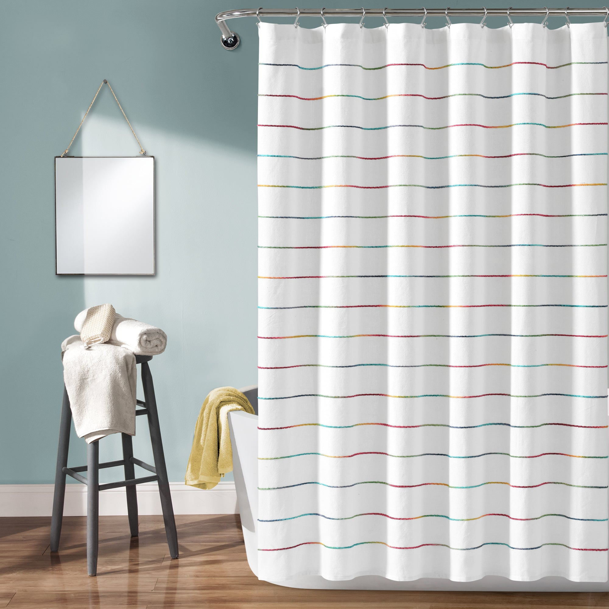 Clearance rainbow fabric shower curtain new free shipping
