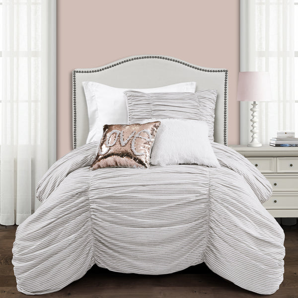 Ruching Ticking Stripe Comforter Set Back To Campus Dorm Room Bedding