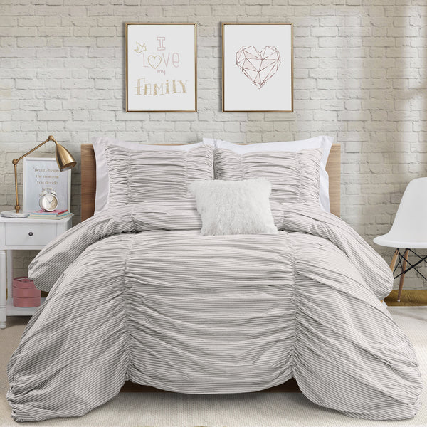 Ruching Ticking Stripe 3 Piece Comforter Set