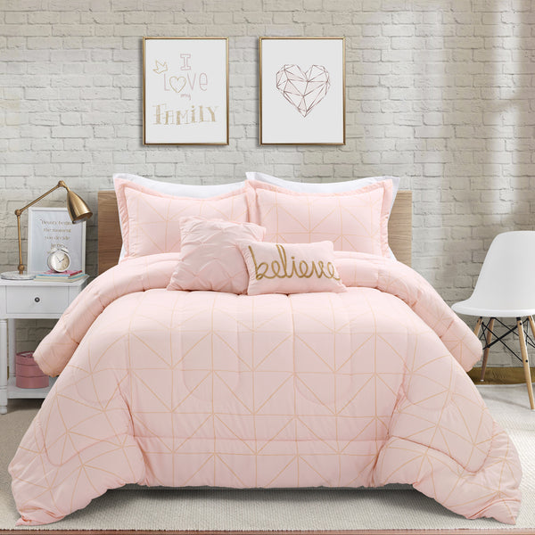 Trio Geo Metallic Print Comforter Set Back To Campus Dorm Room Bedding
