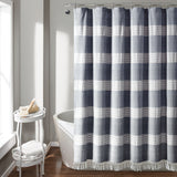 Tucker Stripe Yarn Dyed Cotton Knotted Tassel Shower Curtain