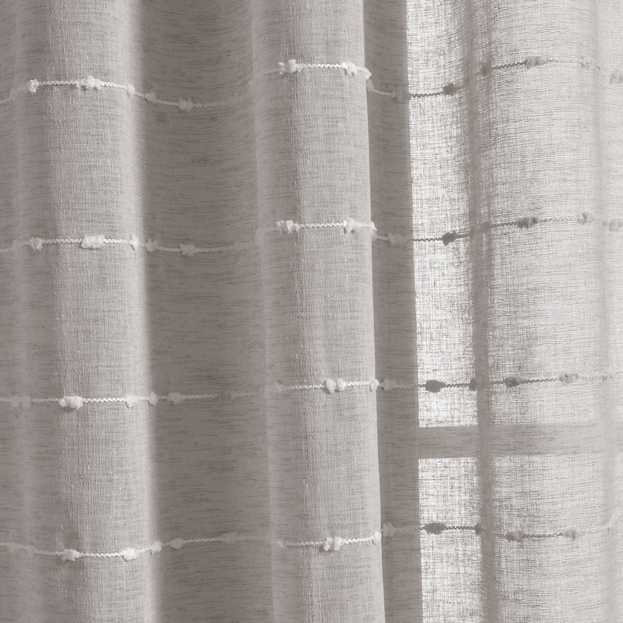 Farmhouse Textured Grommet Sheer Window Curtain Panel Set
