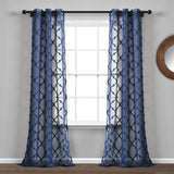 Avon Trellis Grommet Sheer Window Curtain Panel Set