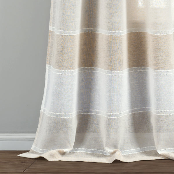 Textured Stripe Grommet Sheer Window Curtain Panel Set