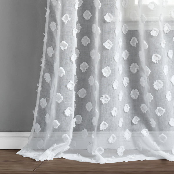 Textured Dot Grommet Sheer Window Curtain Panel Set