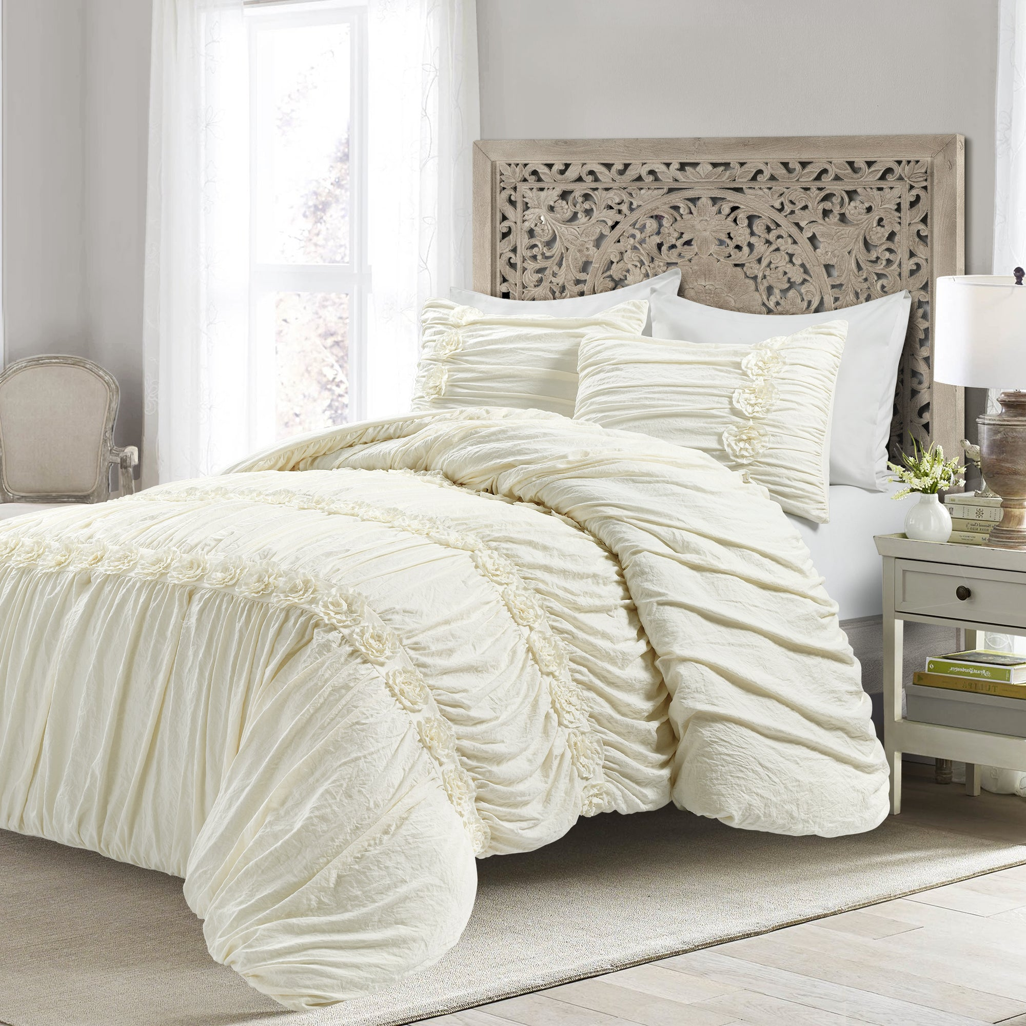 darla 3 piece comforter set full queen ivory