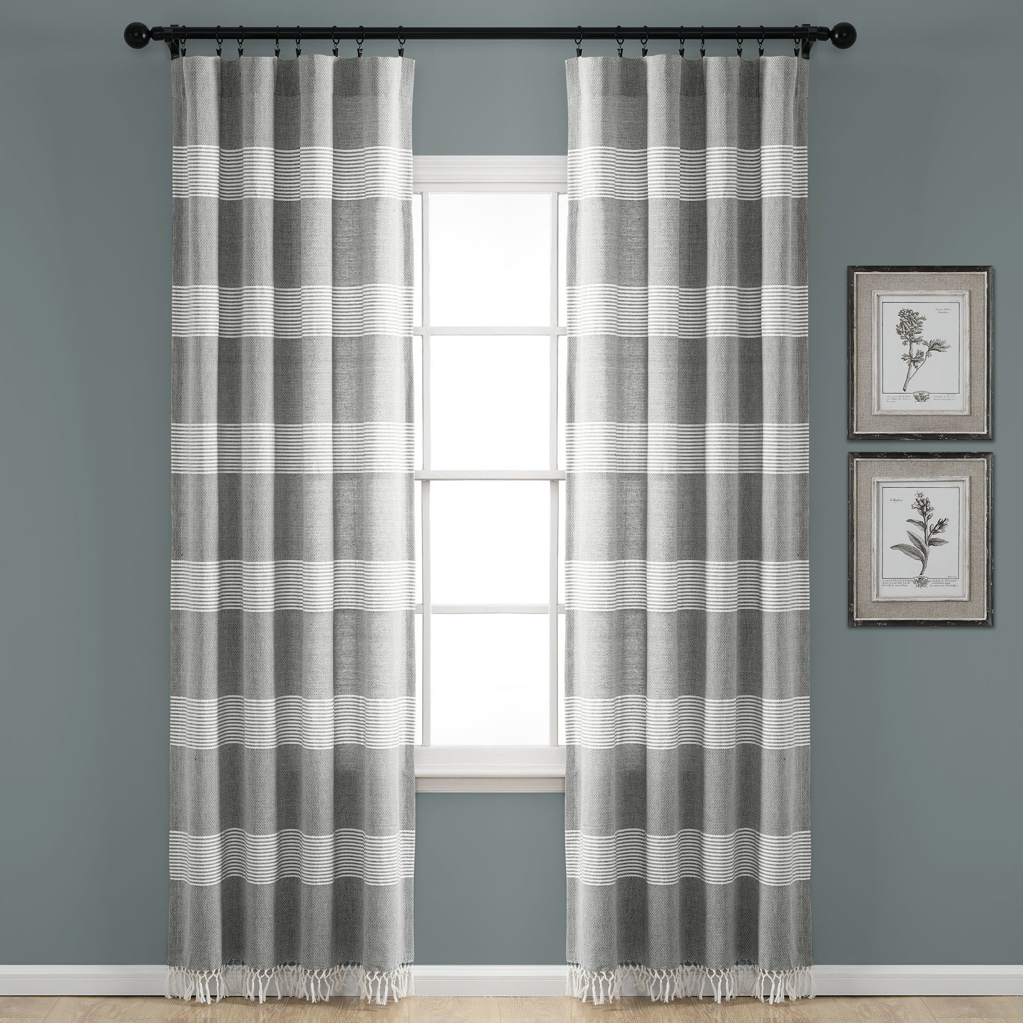 Tucker Stripe Yarn Dyed Cotton Knotted Tassel Window Curtain Panel Set