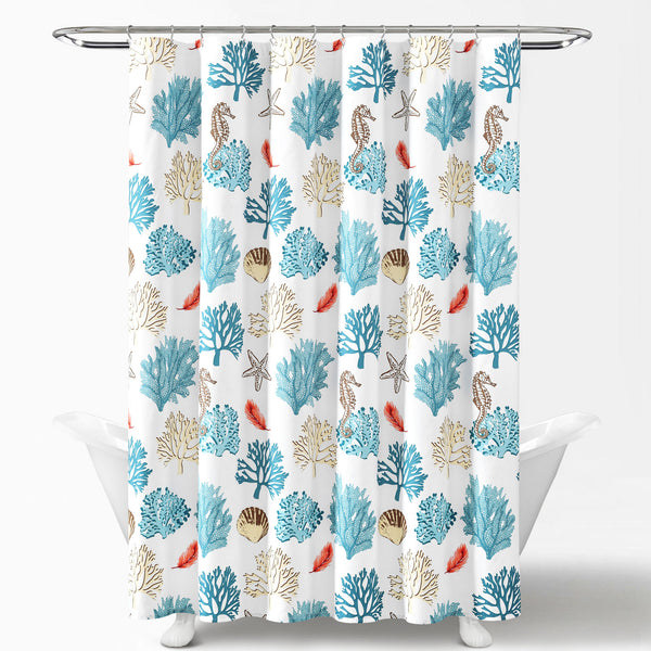 Coastal Reef Feather Shower Curtain