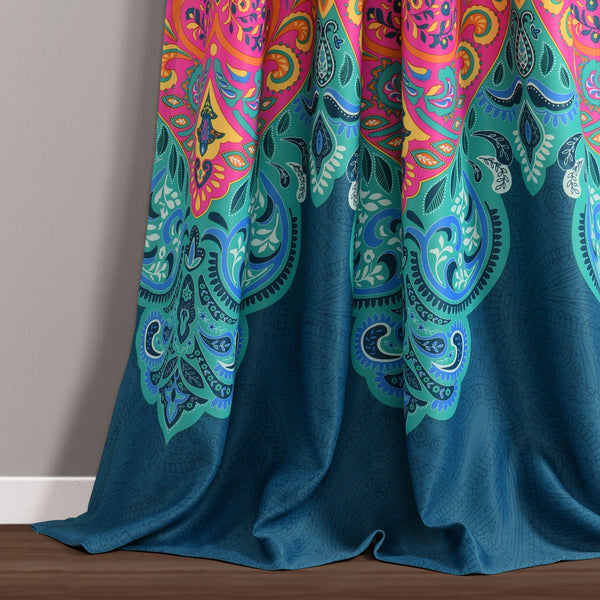 Boho Chic Room Darkening Window Curtain Panel Set