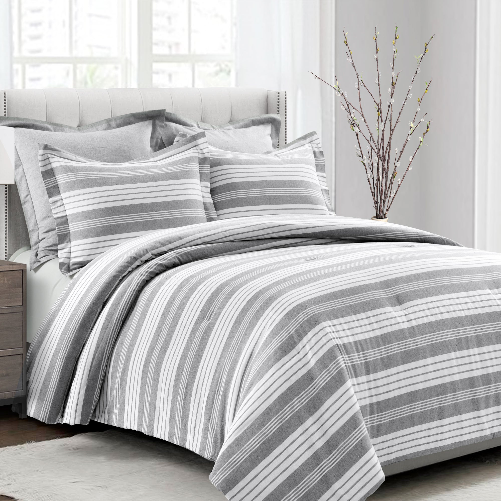 Farmhouse Stripe 3 Piece Comforter Set Lush Decor Www Lushdecor Com