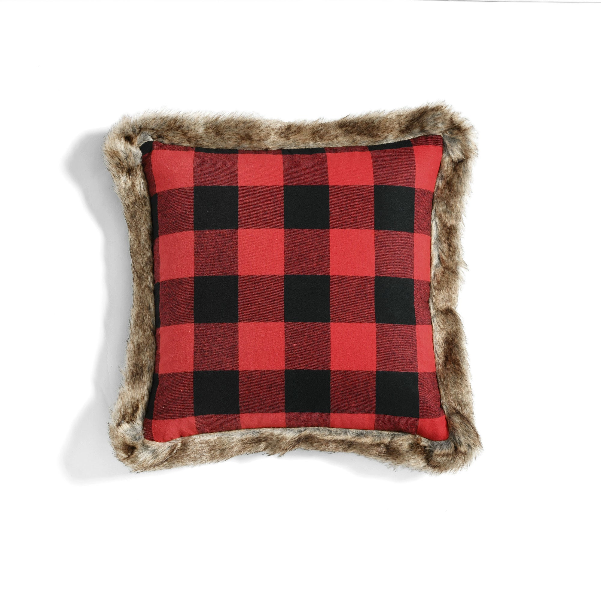 Woven Buffalo Check Fur Trim Decorative Pillow