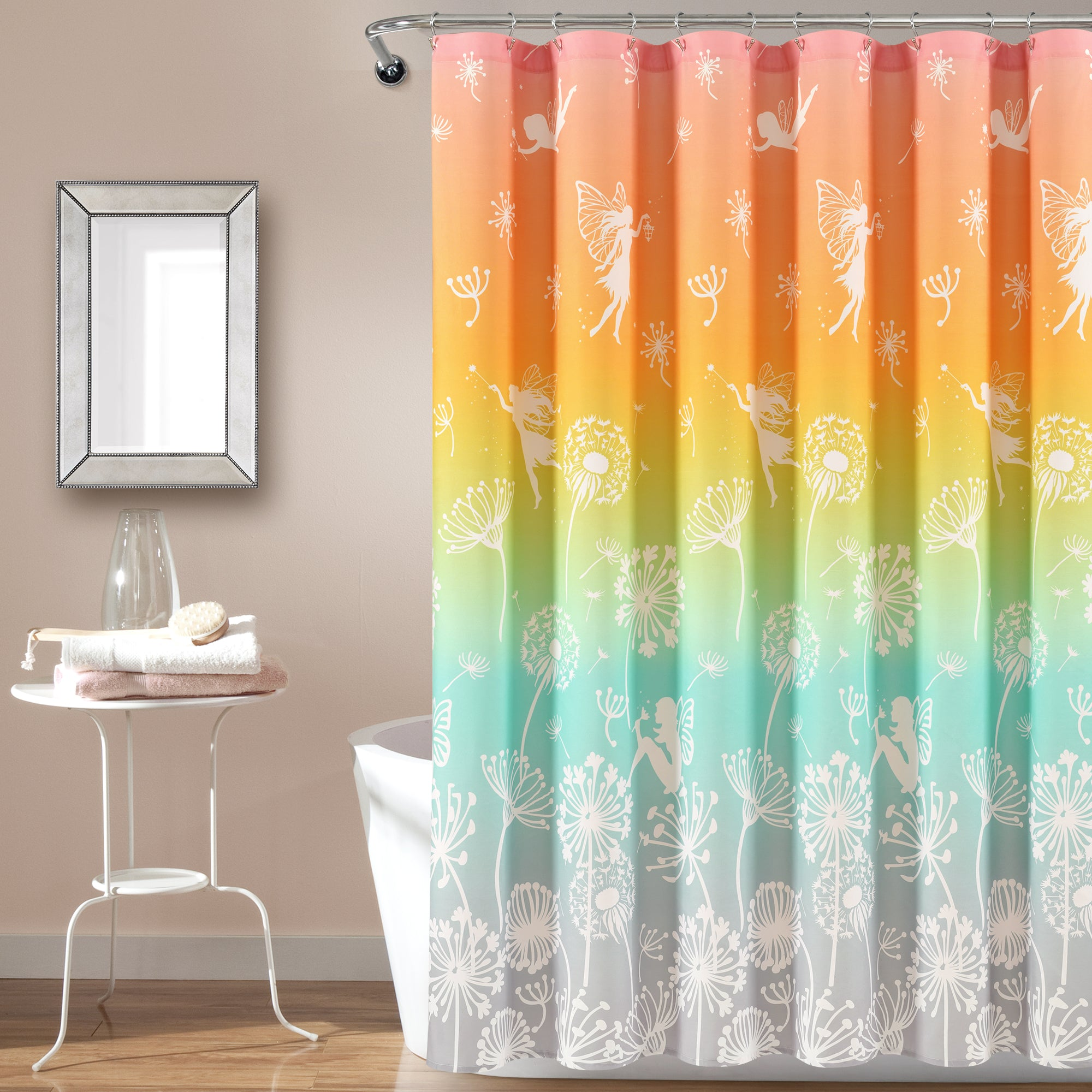 Make-A-Wish Dandelion Fairy Ombre Shower Curtain