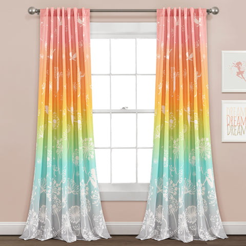 Make A Wish Dandelion Fairy Ombre Window Curtain Panel Set