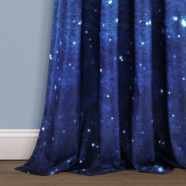 Make A Wish Space Star Ombre Window Curtain Panel Set