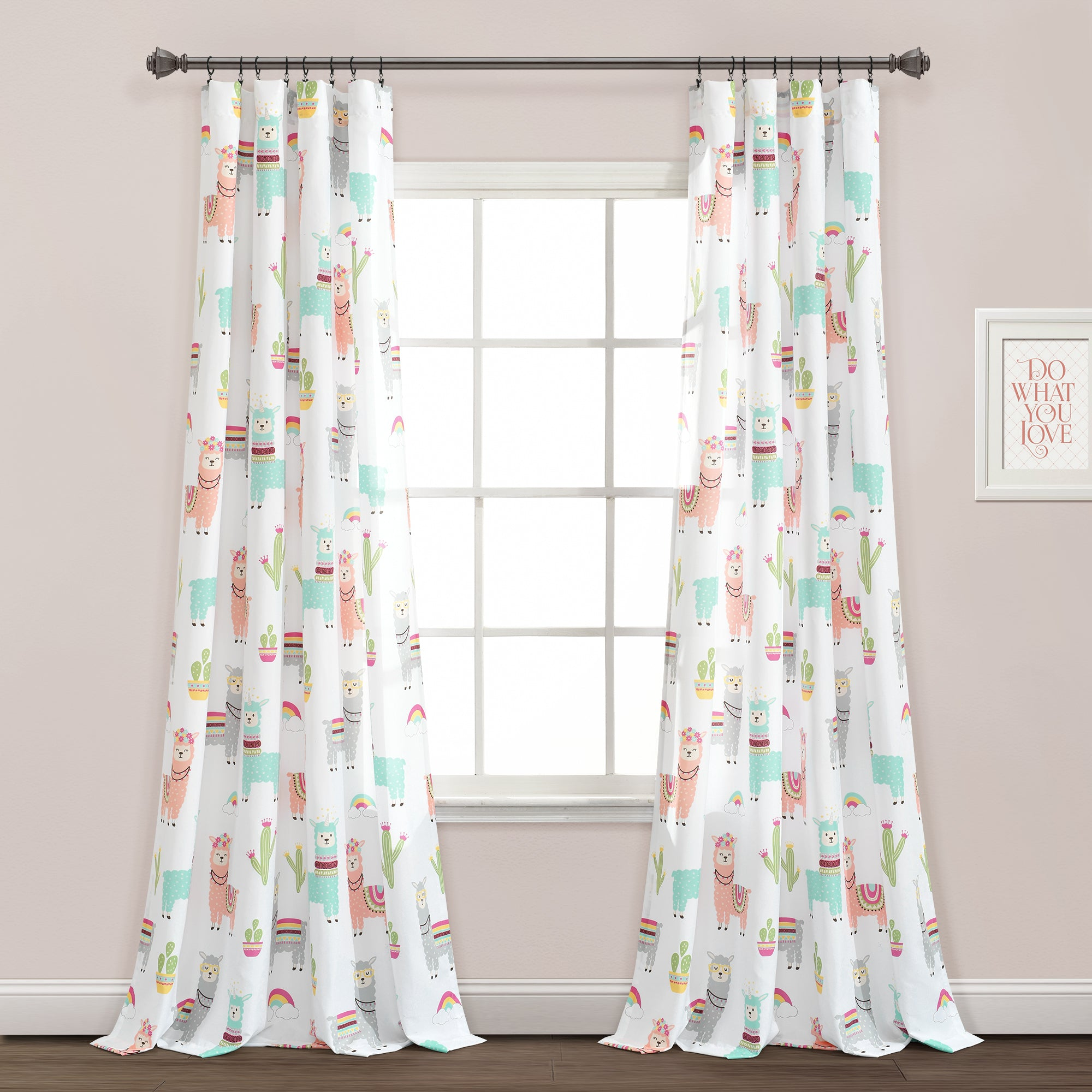 Make-A-Wish Southwest Llama Cactus Window Curtain Panel Set