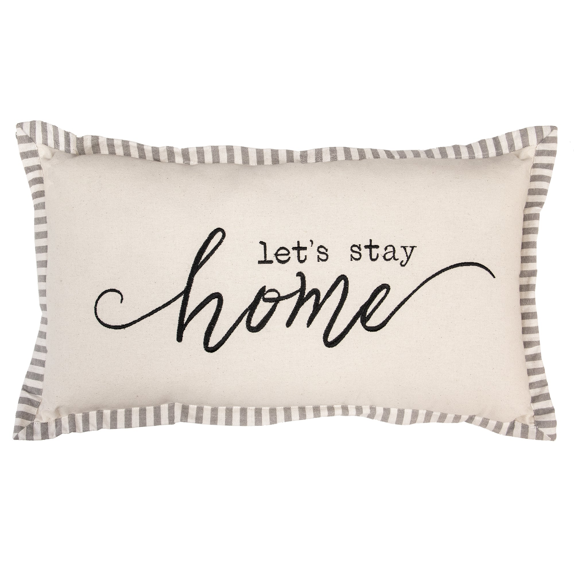 Let's Stay Home Script Decorative Pillow
