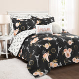Vintage Paris Rose Butterfly Script Comforter Set