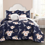Vintage Paris Rose Butterfly Script Quilt Set