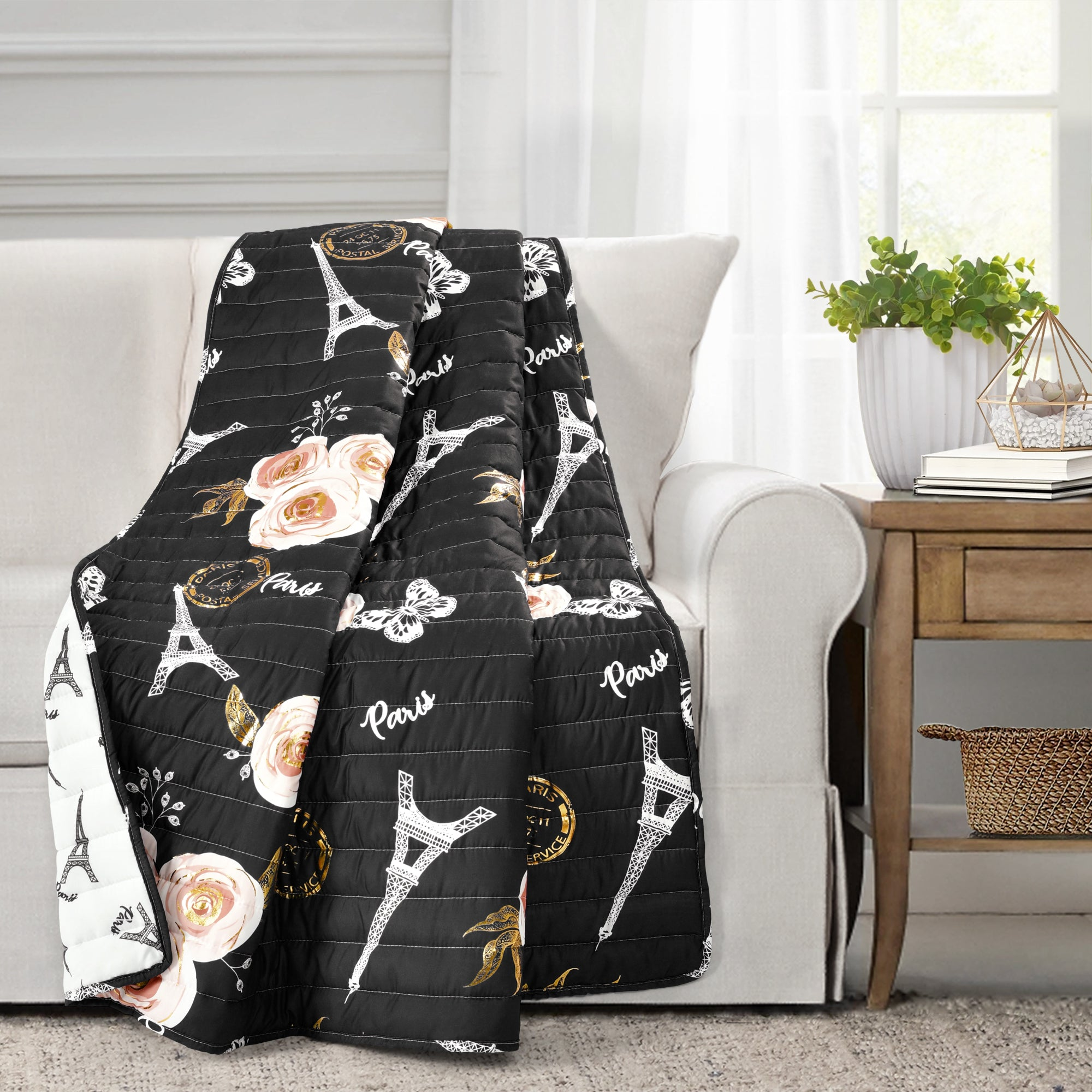 Vintage Paris Rose Butterfly Script Throw