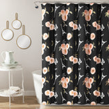 Vintage Paris Rose Butterfly Script Shower Curtain