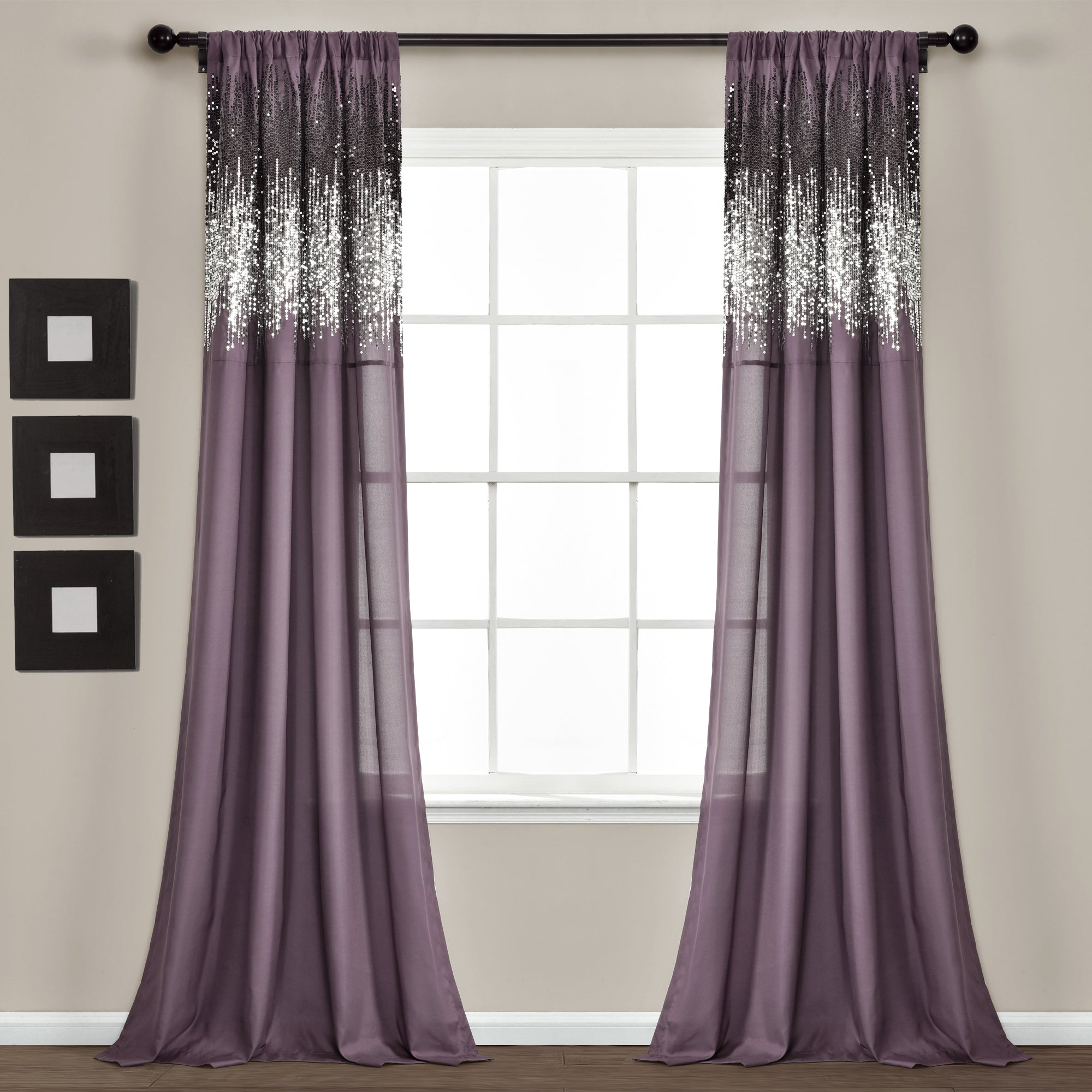 Shimmer Sequins Window Curtain Panel Set