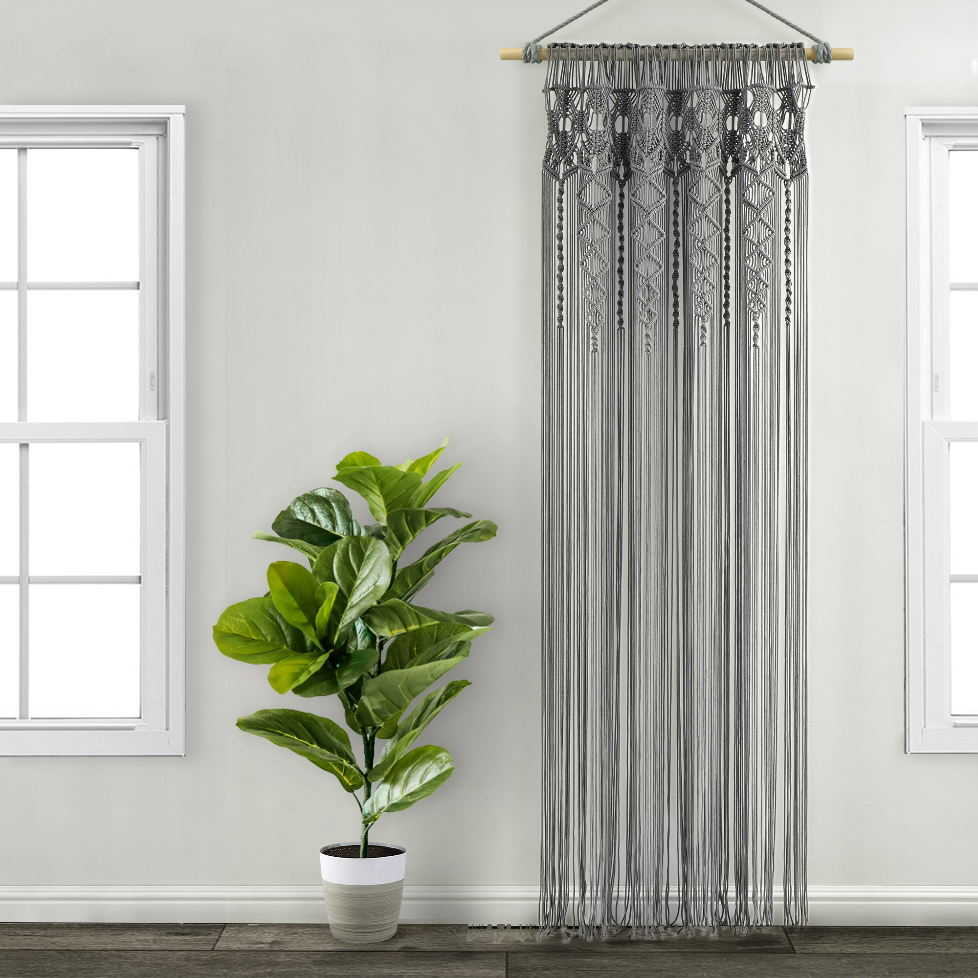Boho Macrame Textured Cotton Window Curtain