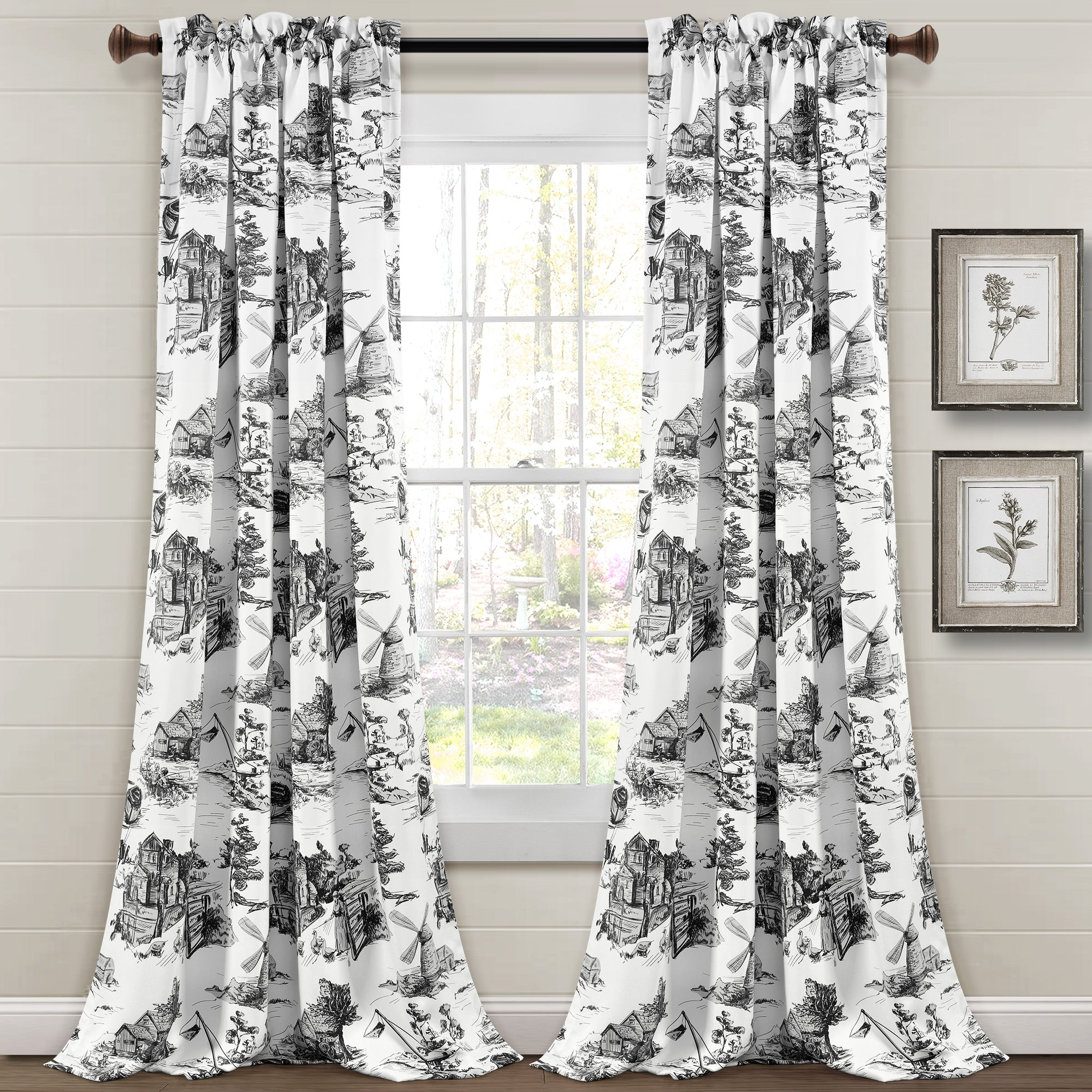 French Country Toile Room Darkening Window Curtain Set