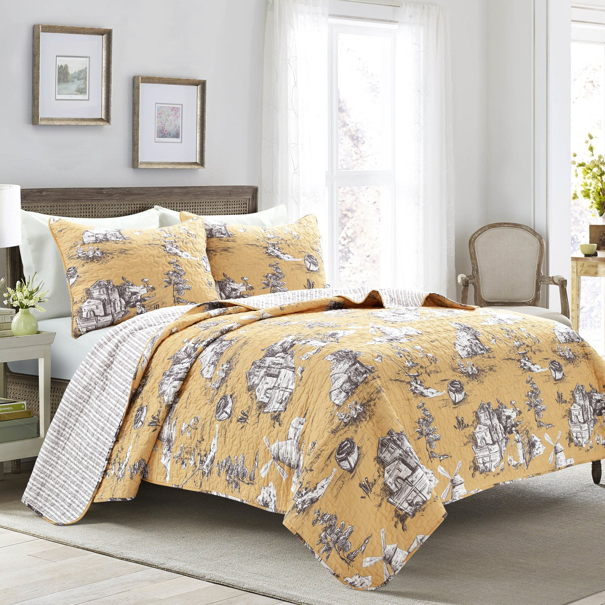 Bedding Bundle: French Country Toile Quilt Set + Darla Comforter Set