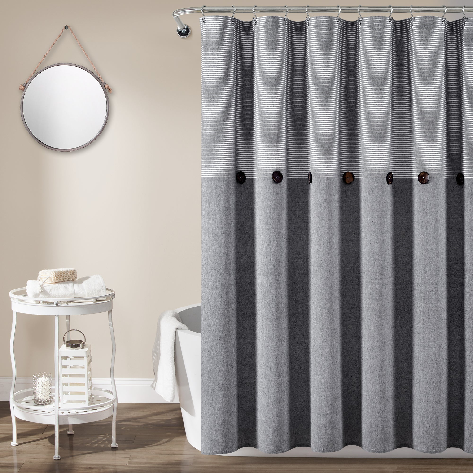 Farmhouse Button Stripe Yarn Dyed Woven Cotton Shower Curtain