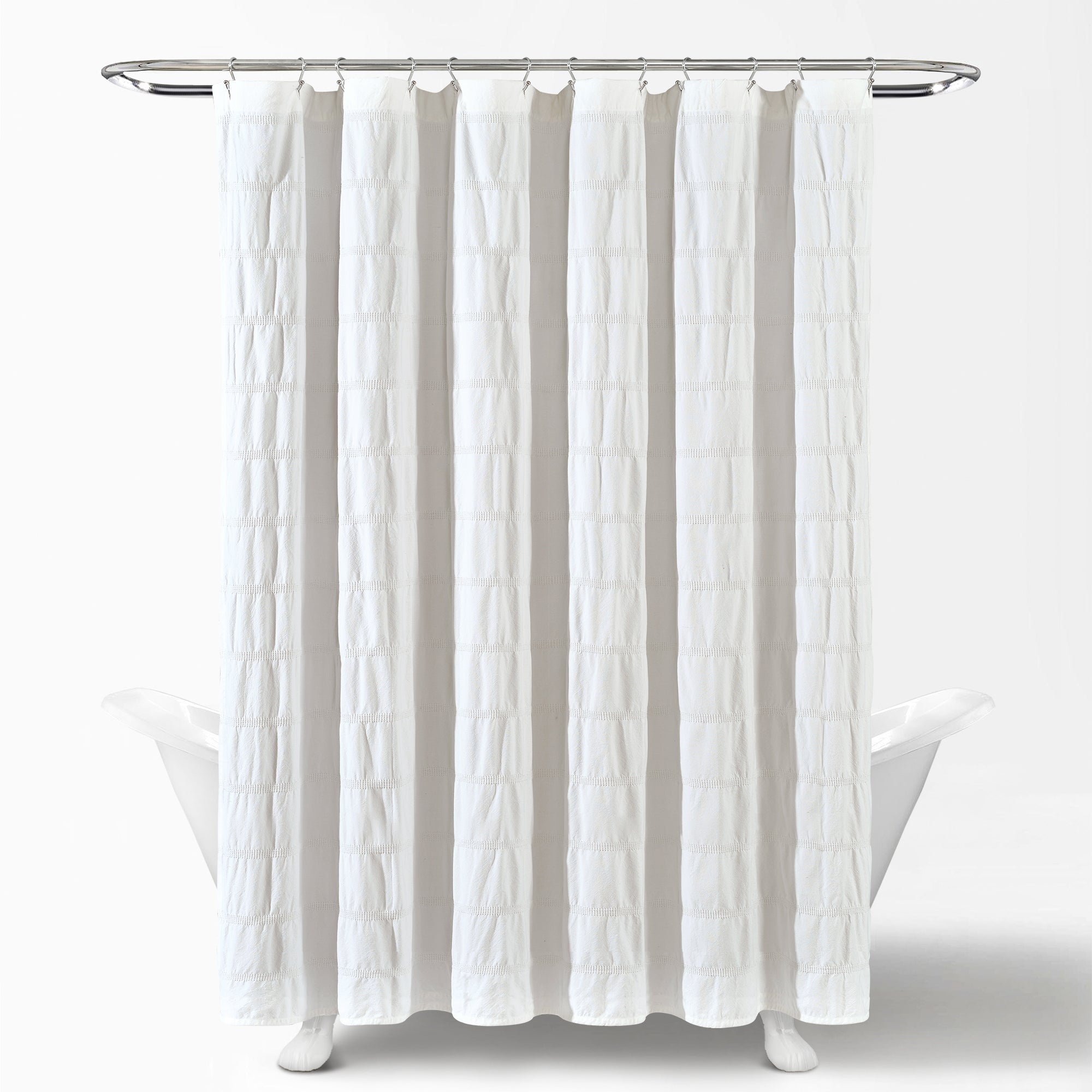 Waffle Stripe Woven Cotton Shower Curtain