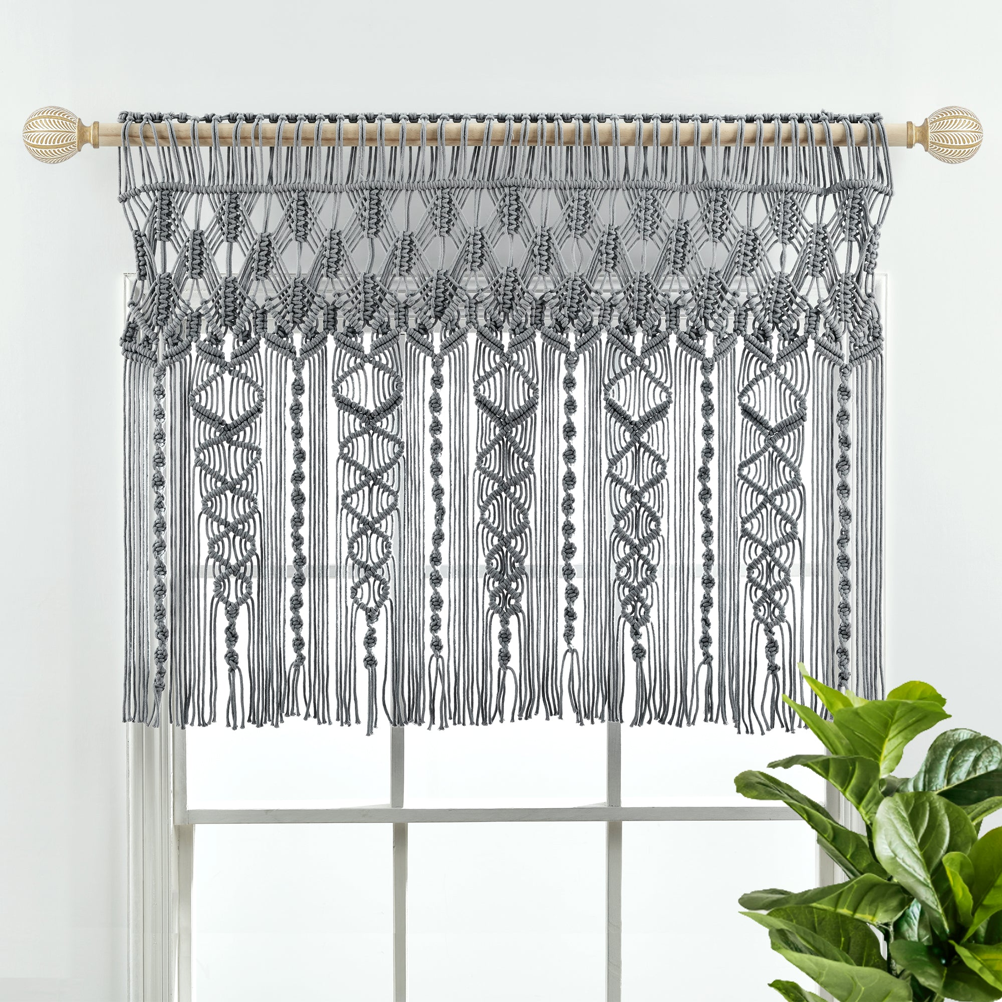 Boho Macrame Textured Cotton Valance