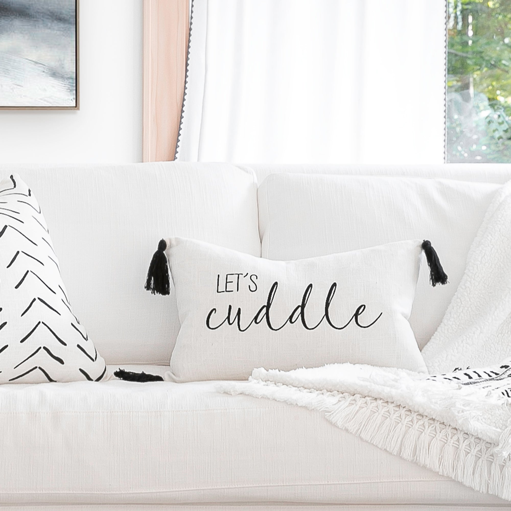 Let's Cuddle Script Decorative Pillow Cover