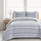 Bedding Bundle: Monique Stripe Quilt Set + Ravello Pintuck Comforter Set