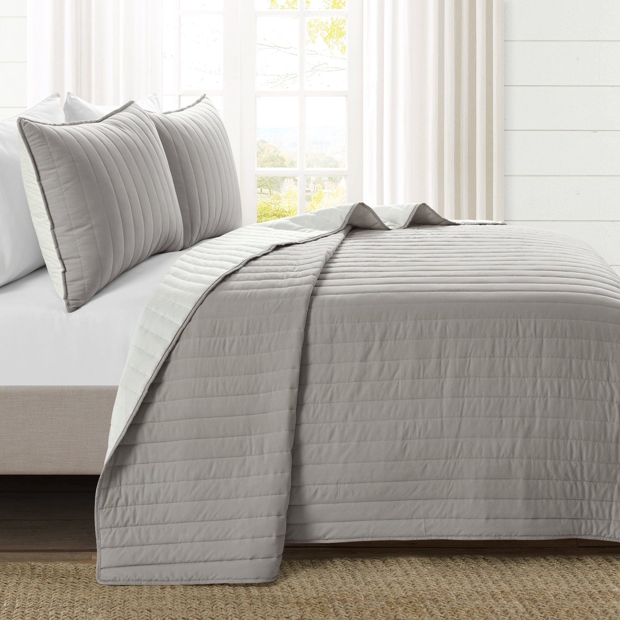 Soft Stripe All Season Quilt/Coverlet Set