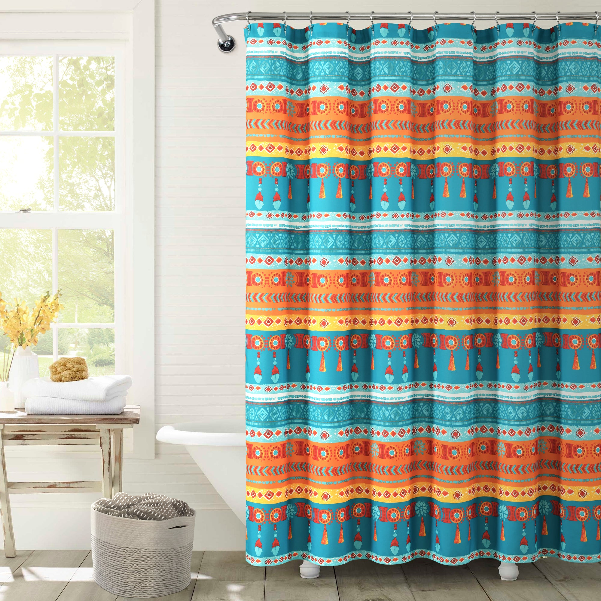 Boho Watercolor Border Shower Curtain
